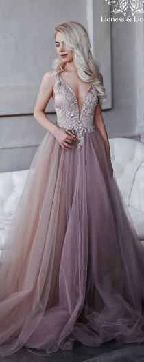 wedding photo - Wedding Dress Of Extraordinary Smoky Purple, Hand-embroidered Crystals, Lush Tulle Skirt, An Open Back / Prom Dress / Evening Dress / Kristi