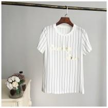 wedding photo - Printed Solid Color Stripped Alphabet Short Sleeves Top - Lafannie Fashion Shop