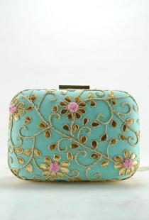wedding photo - Turquoise Pink Gotta Patti Clutch