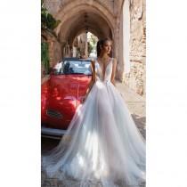 wedding photo - Elihav Sasson 2018 Chapel Train Blush Sweet Aline Deep Plunging V-Neck Sleeveless Embroidery Tulle Wedding Dress - Crazy Sale Bridal Dresses
