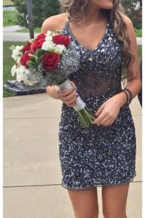 wedding photo - Dark Grey With Iridescent Beading Homecoming Dress,Prom Dress