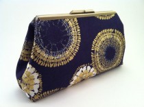 wedding photo - Spring Look : Navy Blue And Gold Metallic Clutch Purse By On3Designs On Etsy, $75.00