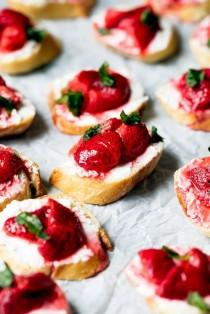 wedding photo - Roasted Strawberry, Basil, And Goat Cheese Crostini