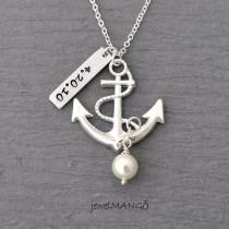 wedding photo - Personalized Anchor Necklace, Wedding, Keepsake Necklace, Turquoise,special Day, Anniversary, Wedding Date, Engagement, Nautical, Birthstone