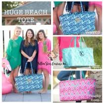 wedding photo - Oversized Tote Bag, HUGE Beach Tote, Carry All Beach Bag , Summer Beach Bag, Monogrammed Beach Bag