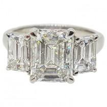 wedding photo - Rectangular 4.64 Carats Emerald Cut Three Stone Platinum Ring