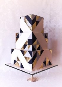 wedding photo - 37 Stylish Geometric Wedding Cakes