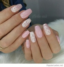 wedding photo - Light Pink Gel Nails With Silver Glitter