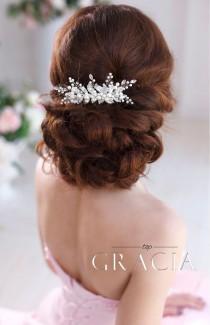 wedding photo - ELENE Ivory Pearl And Crystal Bridal Hair Comb