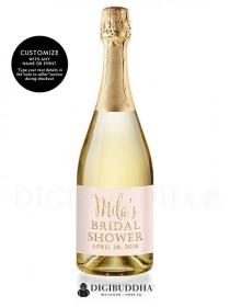 "wedding photo - ""Mila"" Blush   Gold Bridal Shower Champagne Labels"