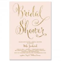 "wedding photo - ""Mila"" Blush   Gold Glitter Bridal Shower Invitation"