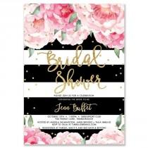 "wedding photo - ""Jenn"" Peonies   Black Stripe Bridal Shower Invitation"