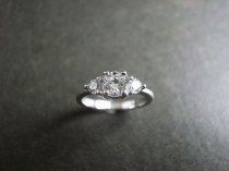 wedding photo - Three Stone Engagement Ring In 14K White Gold, Three Stone Ring, Three Stone Diamond Ring, Diamond Ring, Unique Engagement Ring, Women Ring
