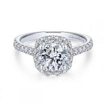 wedding photo - Platinum .66cttw Amavida Cushion Halo Diamond Engagement Ring Mounting With Ornate Gallery
