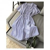 wedding photo - Classic Slimming Stripped Dress - Lafannie Fashion Shop
