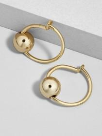 wedding photo - Palla 18K Gold Plated Huggie Hoop Earrings