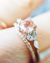 wedding photo - In Stock!* Anastasia Champagne Sapphire Engagement Ring