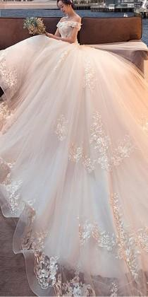 wedding photo - Attractive Tulle Off-the-shoulder Neckline Ball Gown Wedding Dress With Lace Appliques & 3D Flowers & Beadings
