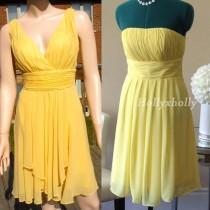 wedding photo - Yellow Bridesmaid Dress, mismatch bridesmaid dress knee length - Hand-made Beautiful Dresses