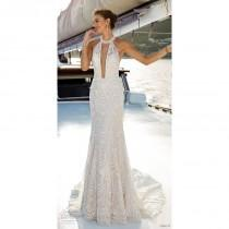 wedding photo - Eddy K. 2019 Fit & Flare Chapel Train Sexy Ivory Jewel Sleeveless Spring Open Back Outdoor Lace Beading Bridal Dress - Formal Day Dresses