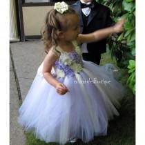 wedding photo - TUTU Flower girl dress Ivory wisteria sleeves chiffton roses flower girl dress 1T 2T 3T 4T 5T 6T 7T 8T 9T - Hand-made Beautiful Dresses