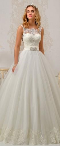 wedding photo - Fantastic Tulle & Satin Bateau Neckline A-Line Wedding Dresses With Lace Appliques
