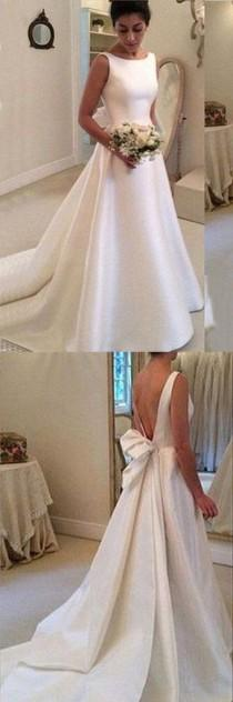 wedding photo - White Satins Round Neck Bowknot Backless Train Wedding Dress, Handmade Dresses