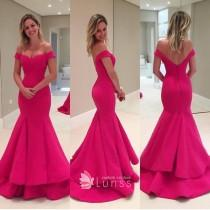 wedding photo - Hot Pink FDY Off-the-shoulder Trumpet Layered Prom Gown