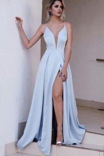 wedding photo - Long Sexy A Line Prom Dress, Light Blue Spaghetti Split Evening Gowns 0412