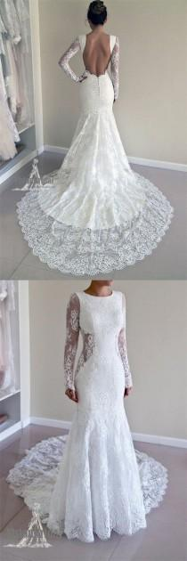 wedding photo - Attractive Round Neck Long Sleeves Open Back Lace Wedding Dress With Trailing, Wedding Dress, VB0686