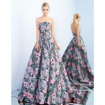 wedding photo - Ieena for Mac Duggal - 55213I Strapless Floral Print Evening Gown - Designer Party Dress & Formal Gown