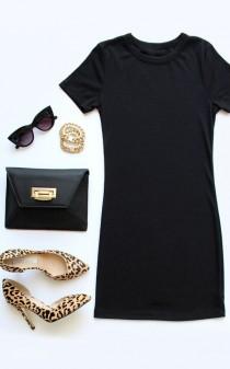 wedding photo - Hey Good Lookin' Short Sleeve Black Dress