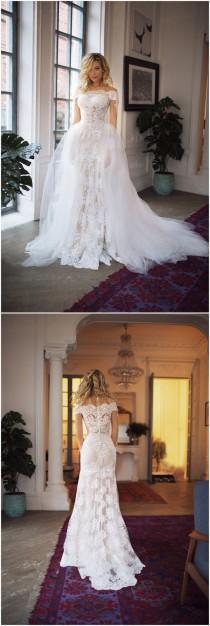 wedding photo - Detachable Train Wedding Dress Nektaria ,off The Shoulder Long Sleev Wedding Dress , Mermaid Lace Wedding Dress
