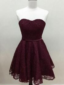 wedding photo - Sweetheart Cute Simpe Maroon Short Lace Homecoming Dresses 2018, CM491