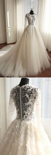 wedding photo - Ivory Tulle Chaple Train Wedding Dress With Long Sleeves(WD0189)