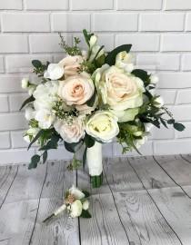 wedding photo - Blush Wedding Bouquet, Bridal Bouquet,Blush Wedding Flowers,Boho Bouquet,Bridal Flowers, Eucalyptus Bouquet, Wedding Accessory,Silk Bouquet