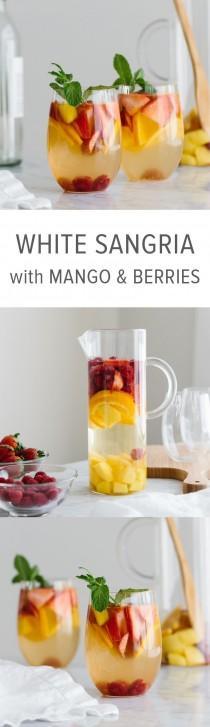 wedding photo - White Sangria With Mango And Berries