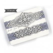 wedding photo - Wedding Garter, NO SLIP Lace Wedding Garter Set, Blue bridal garter set, vintage rhinestones, pearl and rhinestone garter set D04S-DO2S