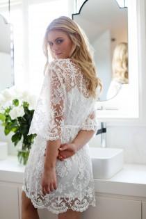 wedding photo - Lace Bridal Robe // Bridesmaid Robes // Robe // Bridal Robe // Bride Robe // Bridal Party Robes // Bridesmaid Gifts / Celeste
