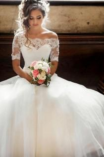 wedding photo - Illusion Off-the-shoulder Princess Wedding Dress With Sleeves