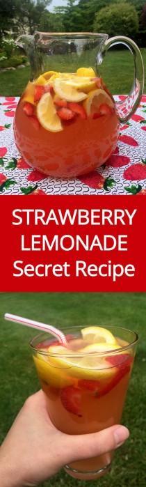 wedding photo - Homemade Strawberry Lemonade Recipe With Freshly Squeezed Lemons & Strawberry Slices