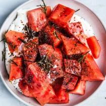 wedding photo - Watermelon With Yogurt, Poppy Seeds, And Fried Rosemary
