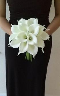 wedding photo - White Calla Lily Bridal Bouquet With Calla Lily Boutonniere-Real Touch Calla Lily Bouquet-Bridesmaid Bouquet-Silk Flower Wedding Bouquet