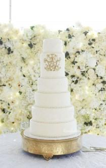 wedding photo - Elegant Tall Lace Wedding Cake With Gold Monogram