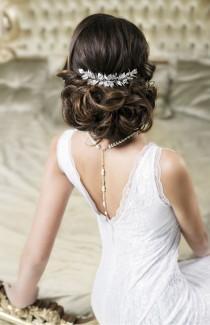 wedding photo - VERA Grecian Silver Leaf Bridal Hair Comb - Laurel Goddess Headpiece