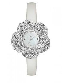 wedding photo - Rose Petal Leather Strap Watch, White