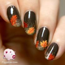 wedding photo - Fall Nail Art! Autumn Leaves On Glitter Gradient