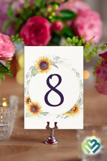 wedding photo - Sunflowers Wedding Table Numbers Fall Wedding Decor Banquet Table Numbers Printable Table Numbers 11
