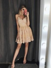 wedding photo - A-Line Spaghetti Straps Champagne Homecoming Dress With Appliques Beading