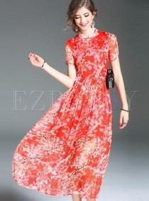 wedding photo - Sweet Print Short Sleeve Maxi Dress